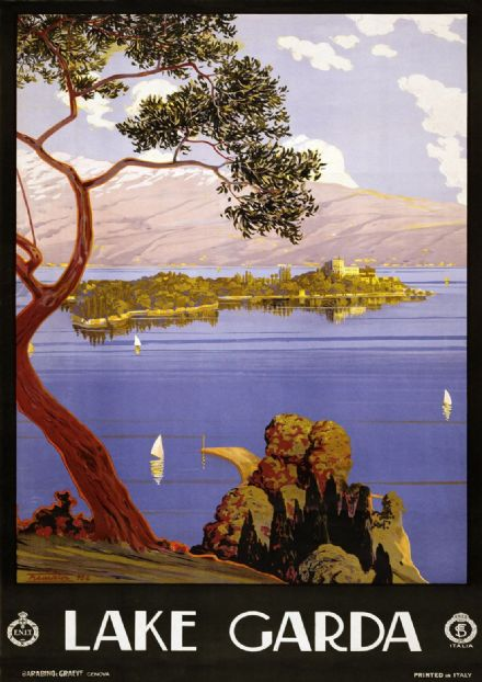 Lake Garda, Italy. Vintage Italian Scenic Beautiful Travel Print/Poster. Sizes: A4/A3/A2/A1 (003290)